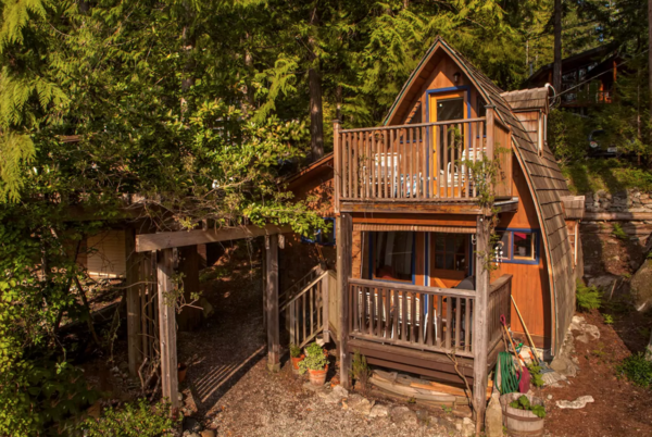 "Airbnb's fourth ""most-wishlisted"" property in Canada, according to the owners, this beautiful loft cabin has incredible views of the Sechelt Inlet and gets all the afternoon sun. The beach is a three-minute walk downhill, and the quiet community sits at the end of the road."