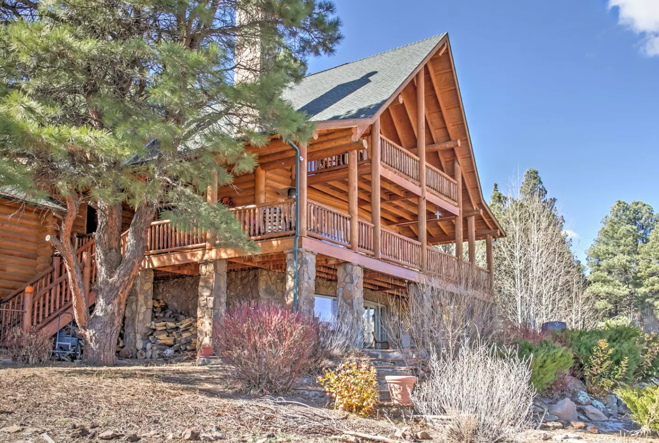 Grant yourself the ultimate escape to the Grand Canyon State with this stunning 3-bedroom, 3.5-bathroom Flagstaff vacation rental cabin, which sleeps 10 guests comfortably. Chock-full of amenities and situated in a private scenic landscape.  Photo 12 of 12 in Alfie the A-Frame and 10 Other A-Grade Accommodations