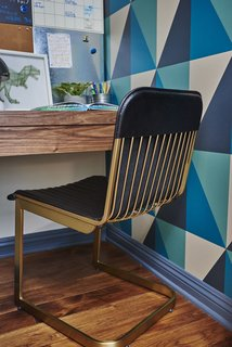 California Dreamers: Boys Bedroom By Sarah Barnard - Photo 1 of 3 -  Geometric wallpaper in navy, teal and oatmeal creates graphic appeal in the boys' bedroom.