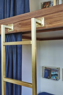 California Dreamers: Boys Bedroom By Sarah Barnard - Photo 3 of 3 - Sarah Barnard designed the custom brushed brass ladder and bed rail to complement the antique metal finishes.