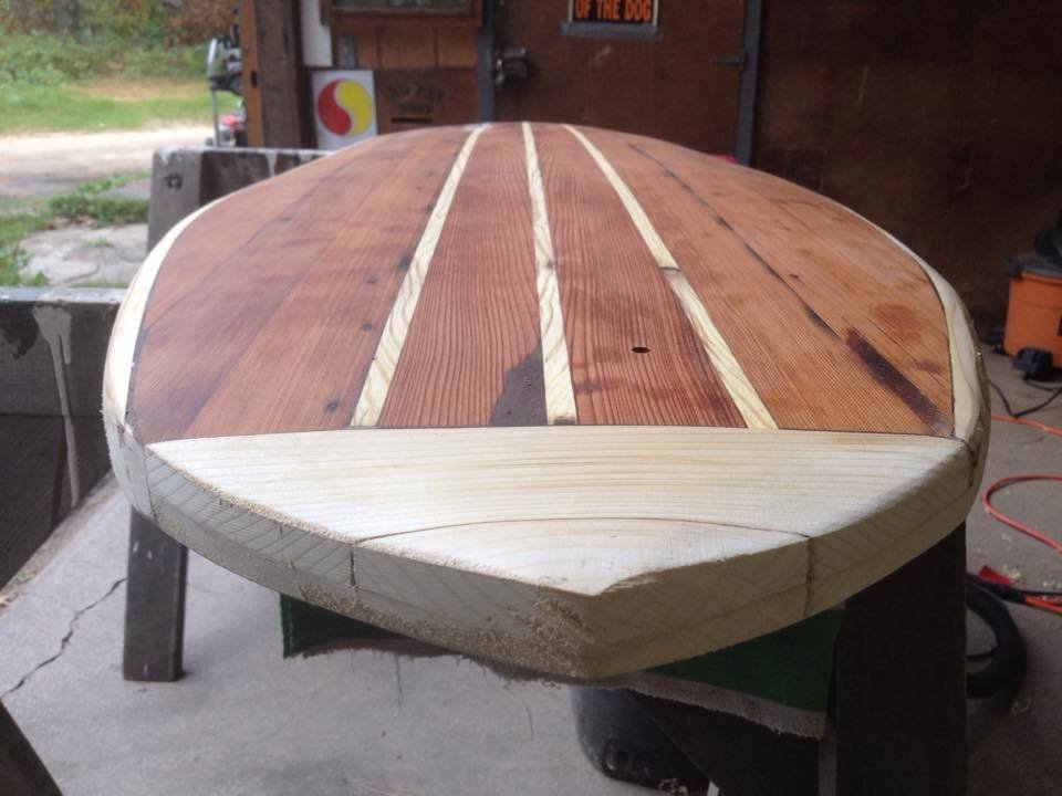 Before shaping the nose. The small hole in the deck allows for a screw-in plug later necessary to vent air from the hollow core after each surf. Air trapped inside the board expands under pressure with heat.  Photo 16 of 26 in Crafting a Hollow Wood Surfboard from Old-Growth Redwood