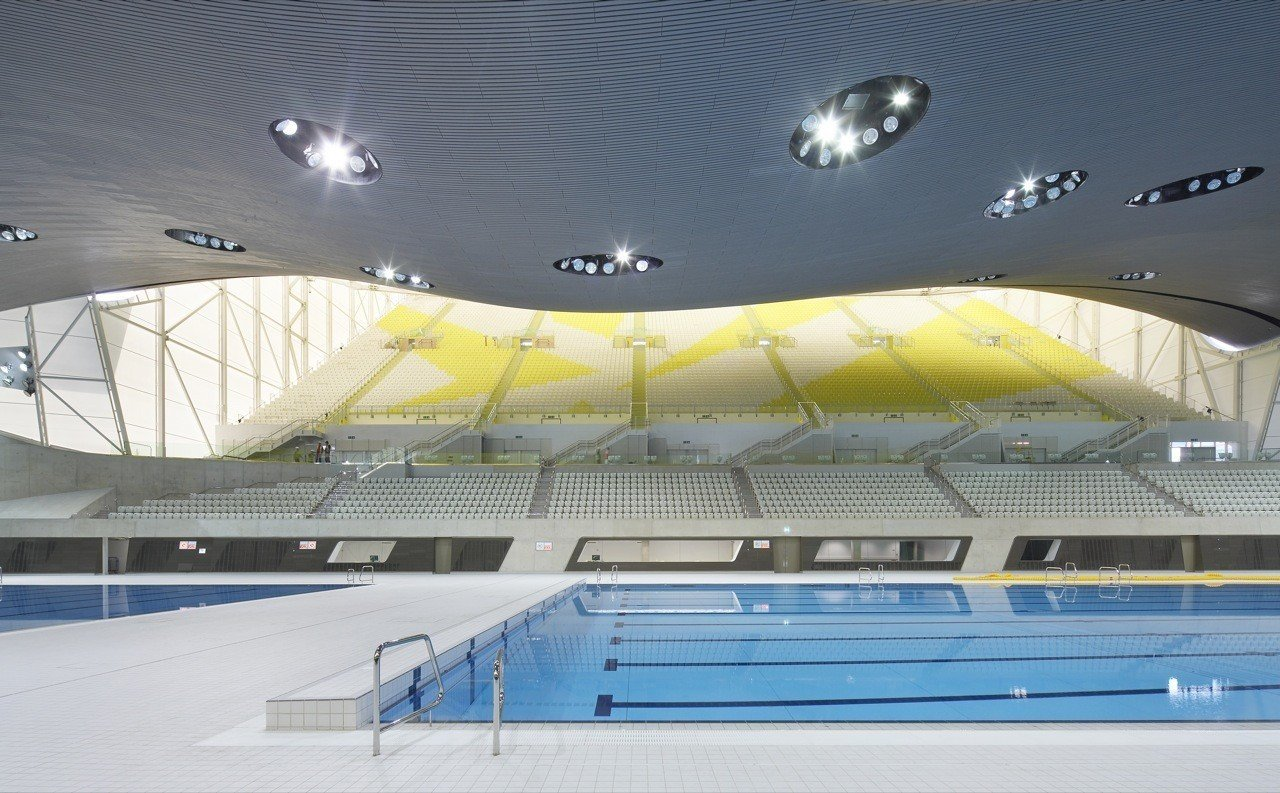 "One of the main venues of the 2012 Summer Olympics and the 2012 Summer Paralympics, the centre was used for the swimming, diving and synchronized swimming events. After significant modification, the centre opened to the public in March 2014.  Photo 9 of 18 in ""Queen of the Curve"": 18 Influential Works by Zaha Hadid"