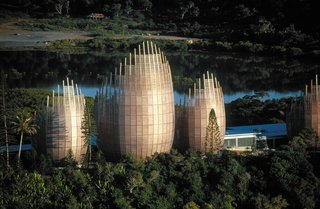 12 Renzo Piano Buildings We Love - Photo 11 of 12 - Designed to celebrate the vernacular Kanak culture (the indigenous culture of New Caledonia), the Jean-Marie Tjibaou Cultural Centre was named after the leader of the independence movement, who was assassinated in 1989 and had a vision of establishing a cultural center that would blend the linguistic and artistic heritage of the Kanak people.