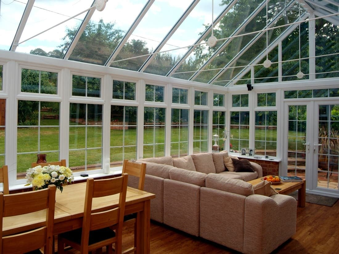 Hullco sell on the year-round seasonability of their sunrooms, offer energy effeciency summer or winter. They offer a variety of styles with various window configurations and material options—from steel to fiberglass.