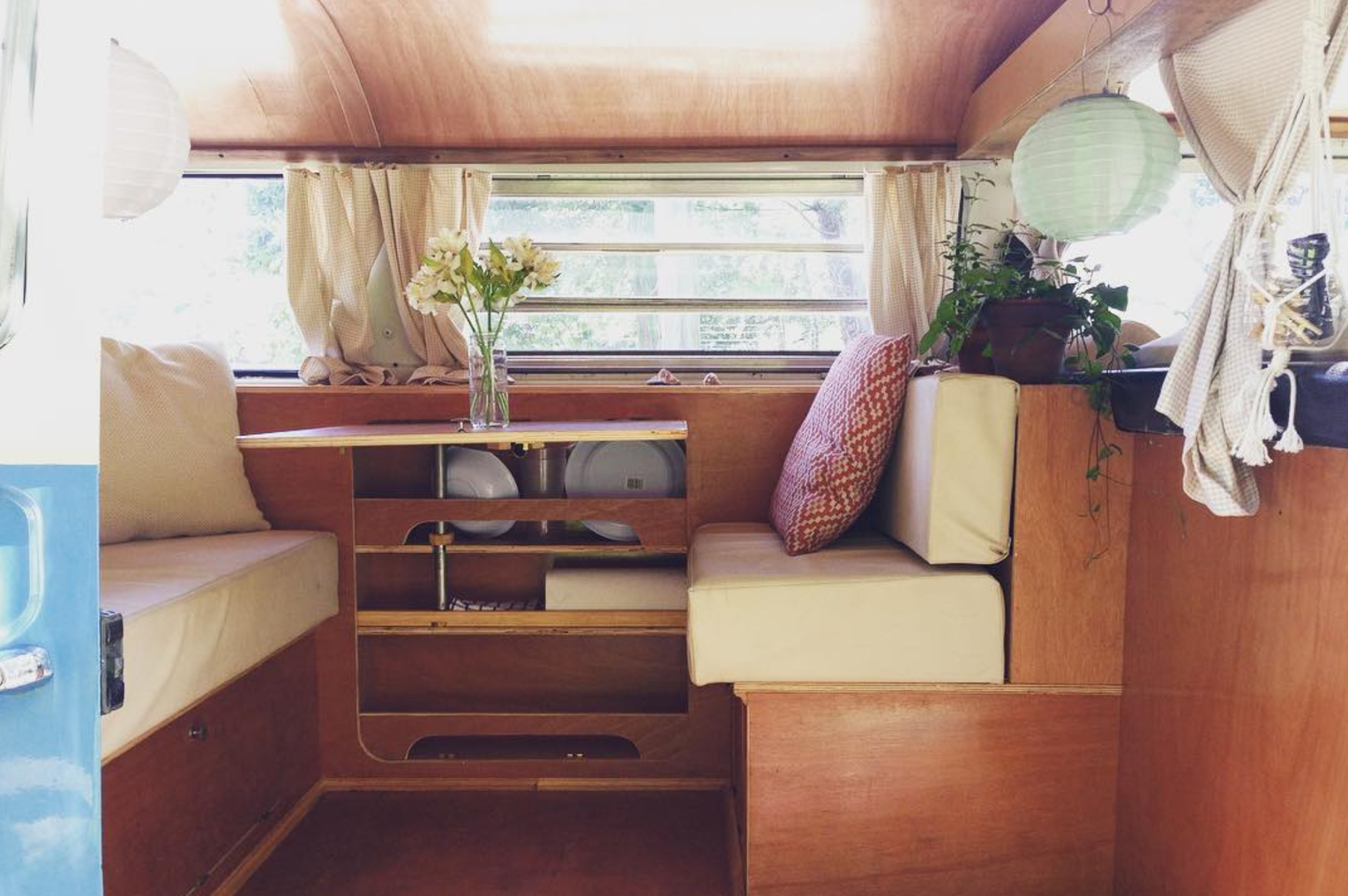 Mariel is a Costa Rican stylist, pilates teacher and macrame lover, living in her sweet ride decked in soft, wood tones.  Photo 5 of 11 in 9 Adventure Seekers Who Celebrate Small Space Living Through the Van Life