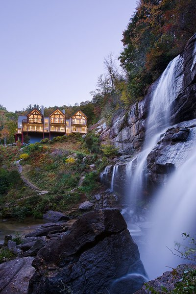 That view. Photo 4 of Contemporary Timber Frame Home Overlooking Twin Waterfalls modern home