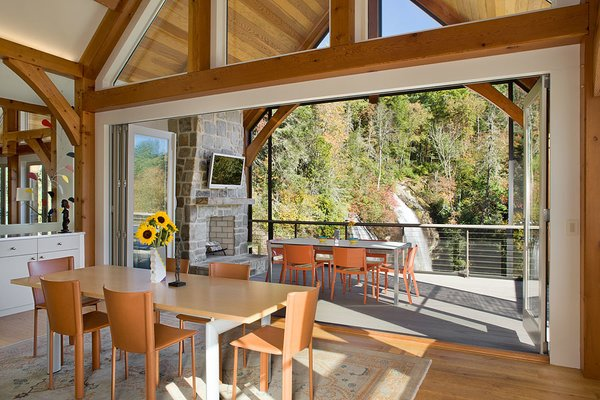 Contemporary design, showcasing the flexible aesthetic of timber framing. Photo 5 of Contemporary Timber Frame Home Overlooking Twin Waterfalls modern home