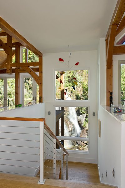 Descending into the view. Photo 6 of Contemporary Timber Frame Home Overlooking Twin Waterfalls modern home