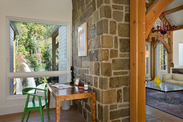 Mortise and tenon, hand-carved timbers. Photo 9 of Contemporary Timber Frame Home Overlooking Twin Waterfalls modern home