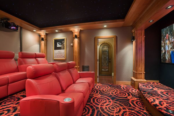 Custom Woodwork, Custom Movie Room Photo 13 of Contemporary Timber Frame Home Overlooking Twin Waterfalls modern home