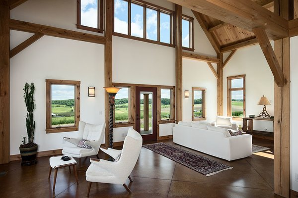 There is a view from every spot in the home. Photo 3 of Timber Frame Barn Home in a Hayfield modern home
