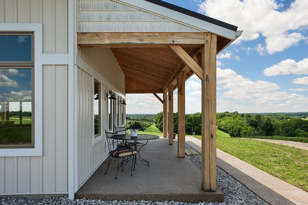 Coffee and a view. Photo 14 of Timber Frame Barn Home in a Hayfield modern home