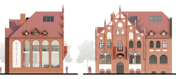 "A so called ""MEDIATEKA""  is a concept for giving a new life for a building in Gdansk, Poland, which used to be a police station Photo 9 of MEDIATEKA modern home"
