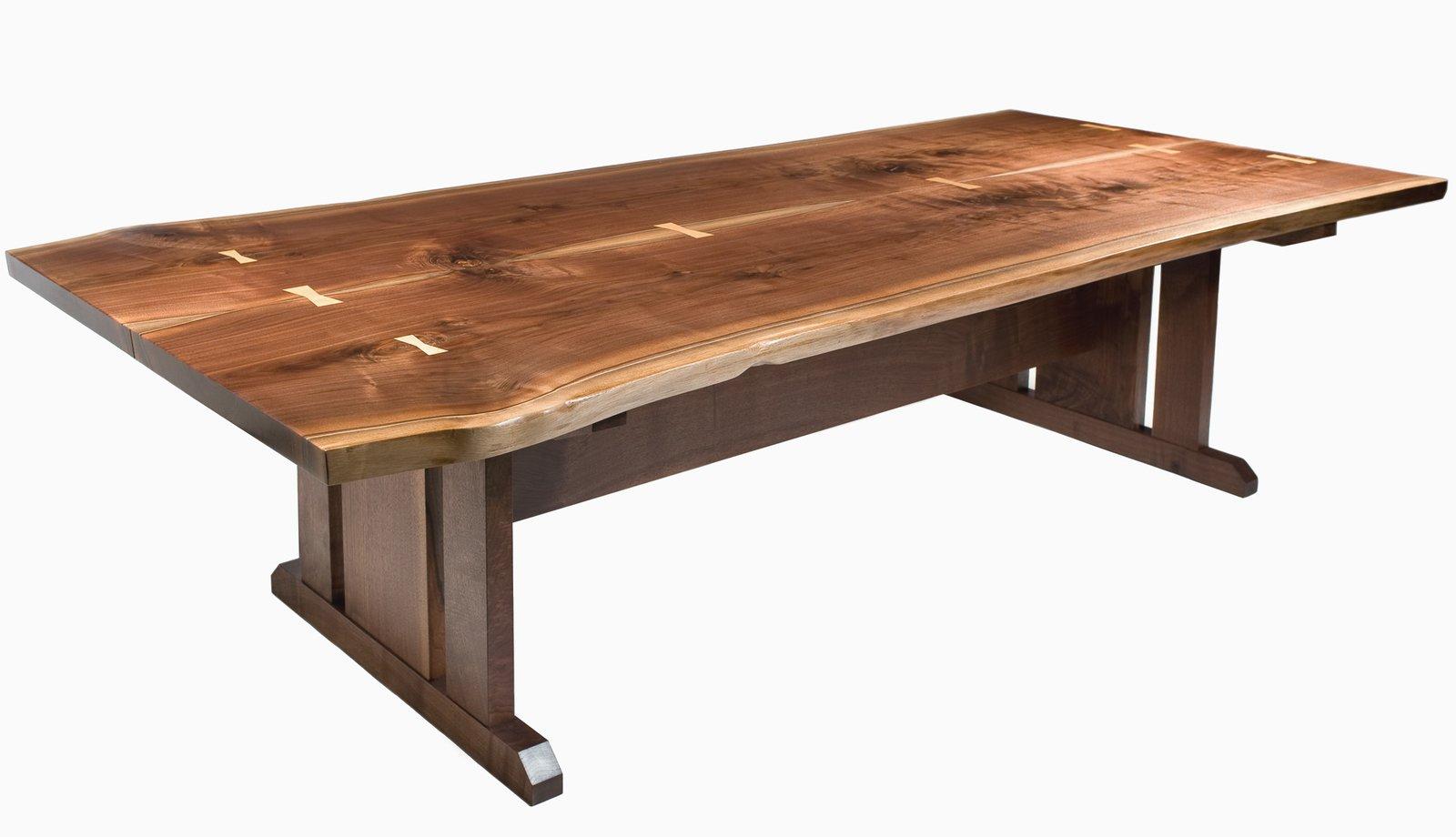 Live Edge Walnut Trestle Table  Tables by Joe Breznick