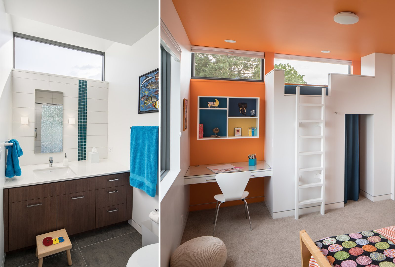Kid's bedroom with loft sleeping area and reading nook. A whimsical orange color wraps down the ceiling and back wall.