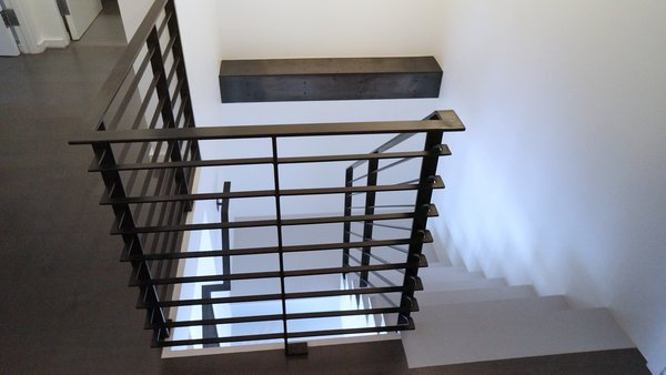 Custom steel railing, and Steel plate ledge Photo 2 of Duplex Apartment Gut Renovation modern home