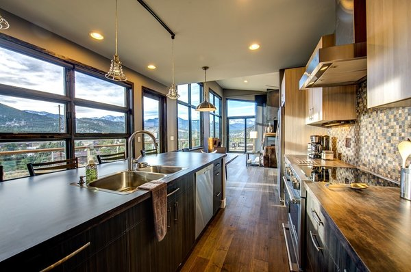 Wood floors are Creek Rock Maple by Q-Wood. Photo 3 of Ascent Estes Park modern home