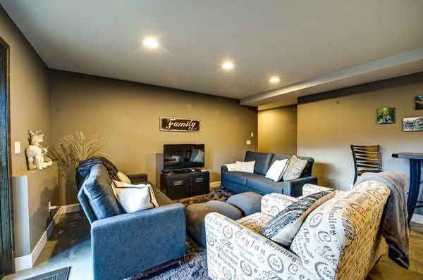 Downstairs family room. Photo 13 of Ascent Estes Park modern home