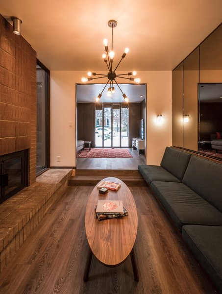Conversation pit with smoke mirrors and sputnik light Photo 4 of Ron Molen Revival modern home