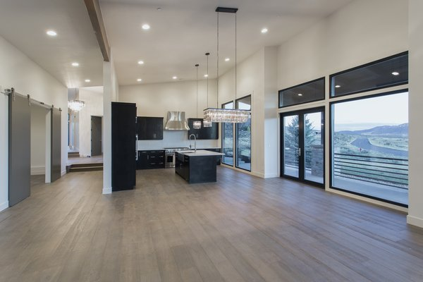 Great room to kitchen Photo 9 of Palisades 14 modern home