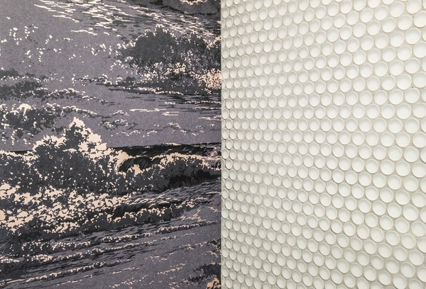 Close up of penny tile and wallpaper design Photo  of San Francisco, Mission Remodel modern home