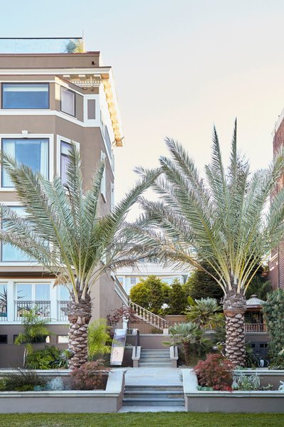 Twin palm trees flank the stairs from a large gathering terrace to the tennis court sized lawn. Photo 2 of Pacific Heights Historic Renovation modern home