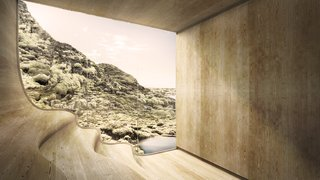 A Proposed Icelandic Resort Celebrates Wellness and its Magical Surroundings - Photo 7 of 18 - Views from the sauna look out onto the rocky hillside and the man-made lagoon.