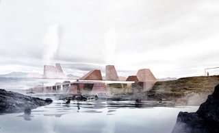 A Proposed Icelandic Resort Celebrates Wellness and its Magical Surroundings - Photo 3 of 18 - The buildings disappear and melt into the landscape, and yet also appear as if they're mirrored in the water of the lagoon.