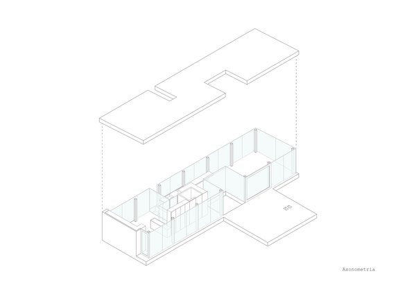 A axonometric of the project shoes its long, rectangular form with cut-outs to preserve existing trees.
