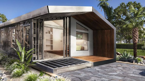 The Tulip model by Steelhomes is a manufactured 1-bedroom, 2-bathroom residence with just over 1000 square feet of living space. Based in Miami, Steelhomes maintains a steel frame factory in Opa Locka and works throughout South Florida.