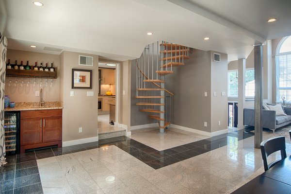 Wetbar with spiral stairs Photo 3 of Medford Oasis modern home