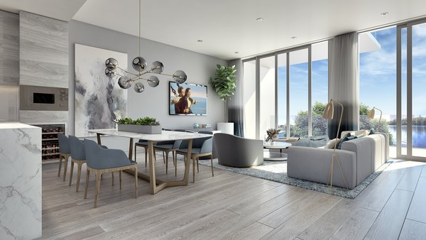"""Interiors are outfitted with 7.5"""" wide-plank European white oak flooring, glass-enclosed oak stairs, spacious walk-in-closets, and private elevators.  Photo  of Philips Harbor modern home"""