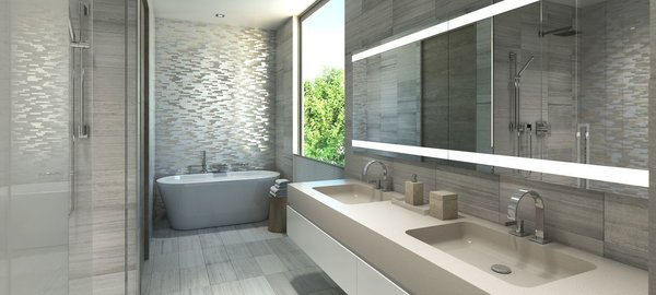 Silver travertine master bathrooms feature radiant heating, sculptural free-standing soaking tubs and private commodes. Photo 4 of Philips Harbor modern home