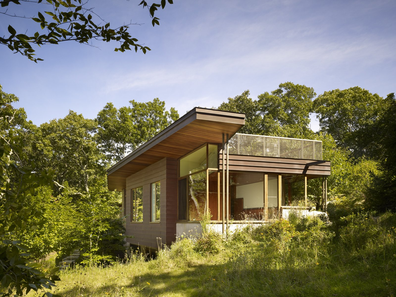 Tagged: Exterior, House, Cabin Building Type, Wood Siding Material, and Metal Siding Material.  Chilmark Guest House by Charles Rose Architects