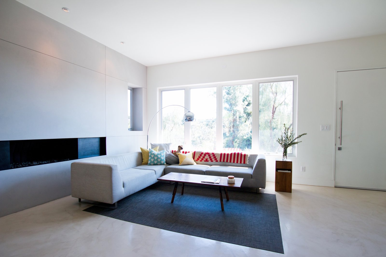 Living Room: Concrete Floors + Linear Gas Fireplace  Edgewood by Christina Micklish