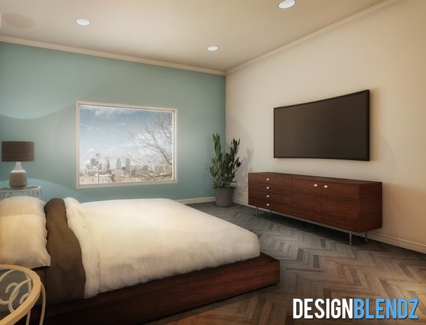 Master bedroom with Center City skyline picture window Photo  of Solo House modern home