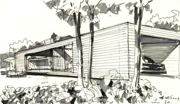 Sketch of the house Photo 16 of Wood House modern home