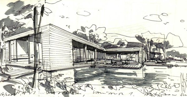 Sketch of the house Photo 15 of Wood House modern home