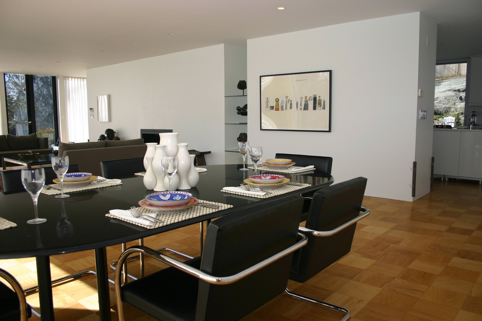 Living / dining area.  Glass House by T Seisser