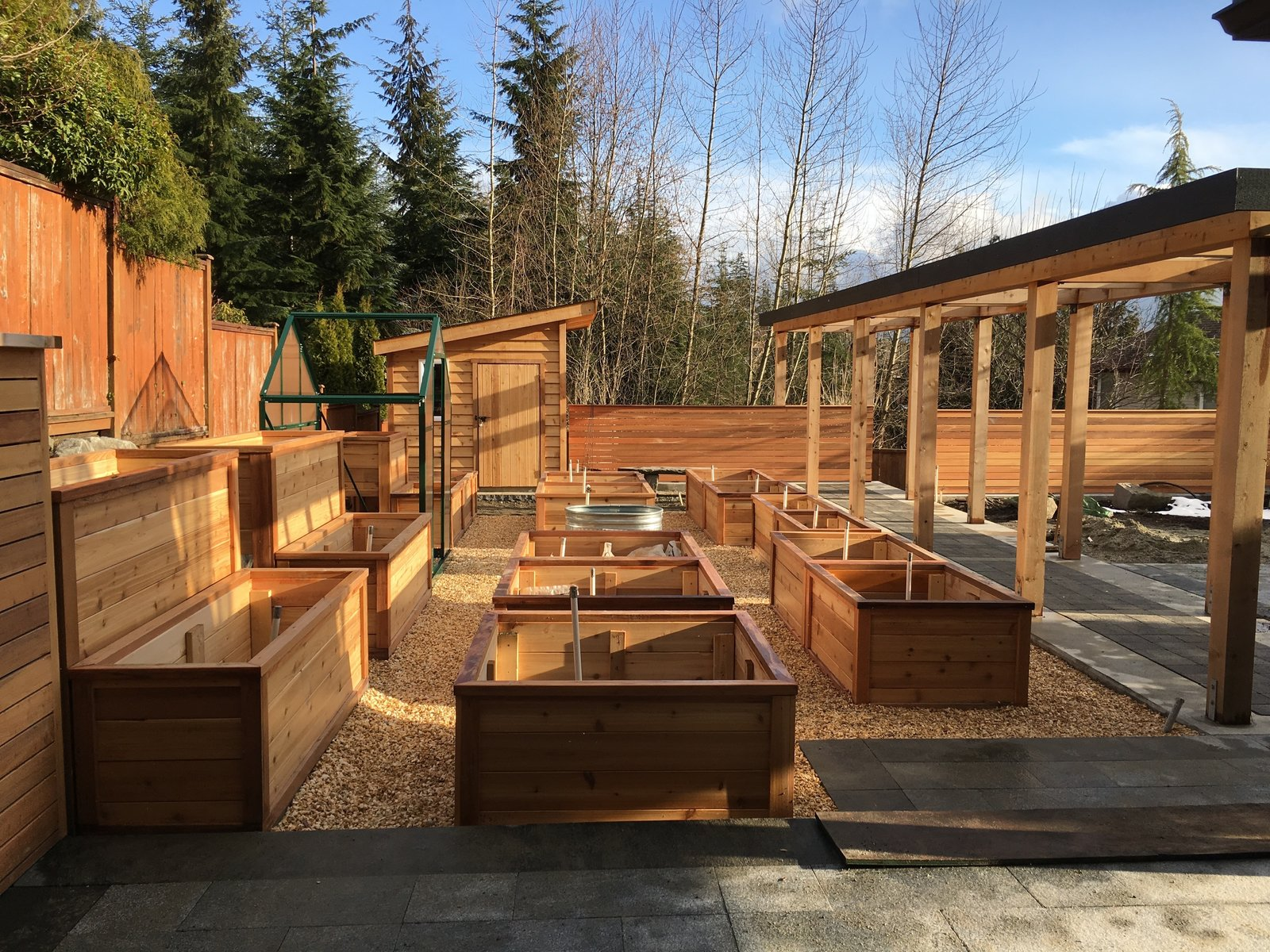 """Overlooking the """"growzone"""" with raised cedar planter boxes, greenhouse & potting shed next to the pergola  20+ Ways to Design with Planters by Allie Weiss from Port Moody Makeover"""