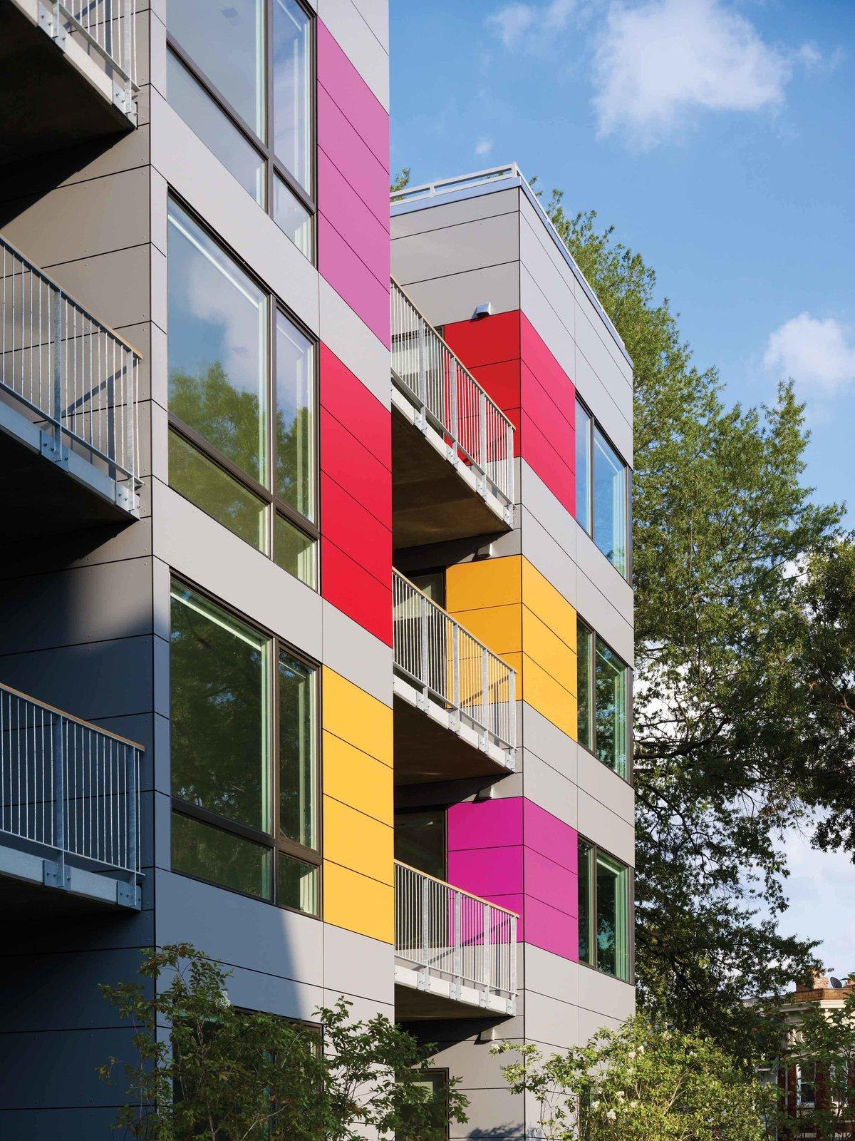 Colorful Trespa rainscreen on west facade