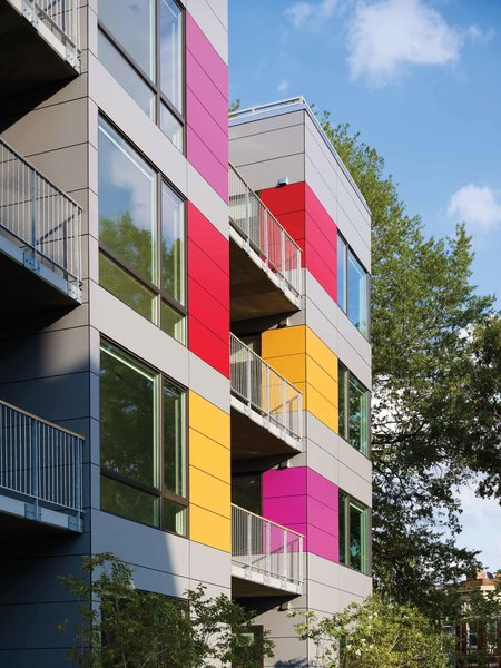 Colorful Trespa rainscreen on west facade Photo 5 of In Living Color modern home