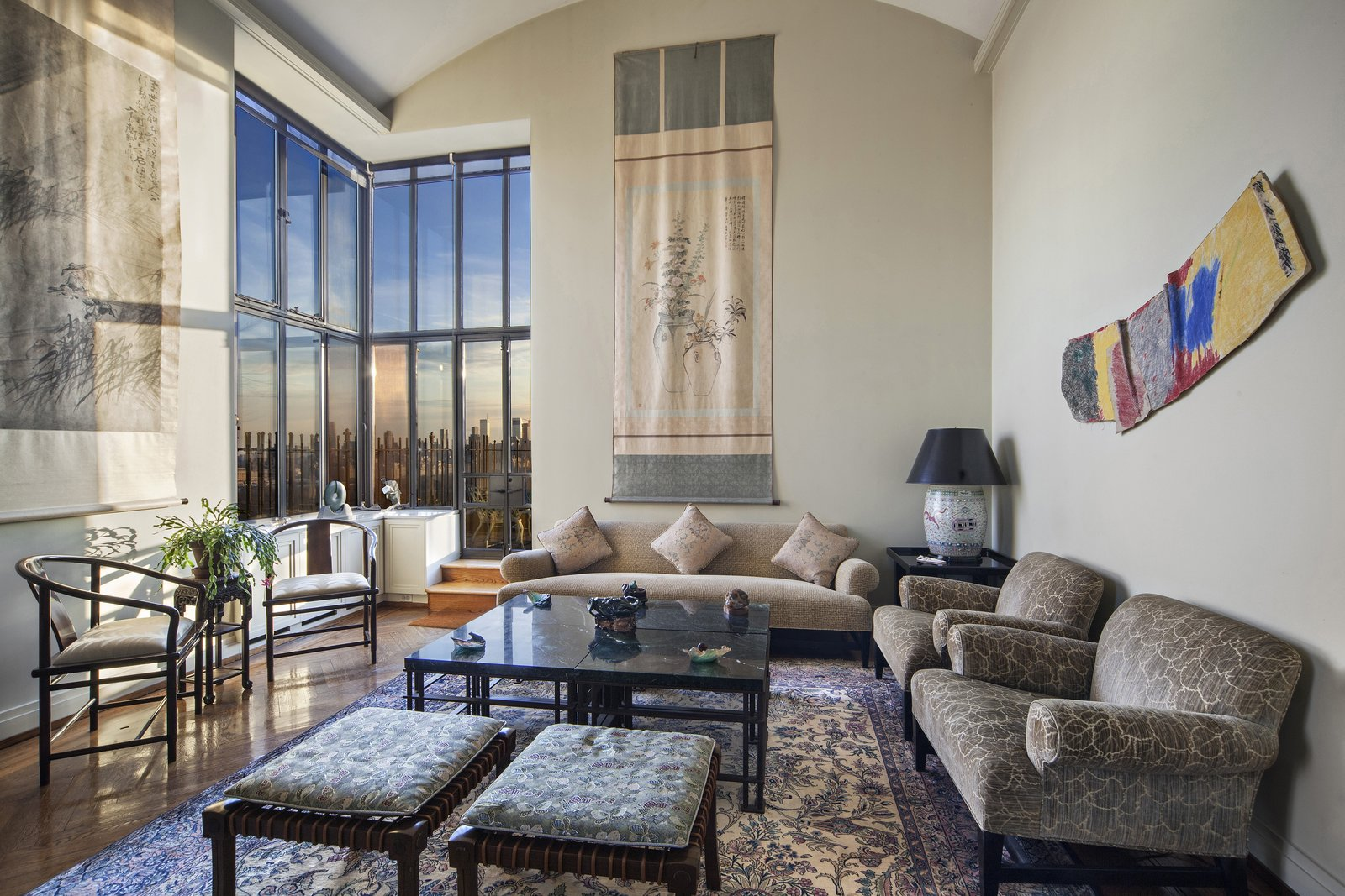 Living Room with Terrace Access  Magical Manhattan Penthouse by Stribling & Associates