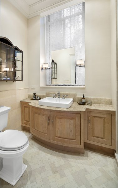 Modern home with bath room, tile counter, drop in sink, porcelain tile floor, and wood counter. Photo 8 of Renovated Brownstone Living