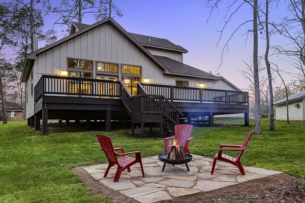 Backyard with Firepit Area Photo 12 of The LakeLife House modern home