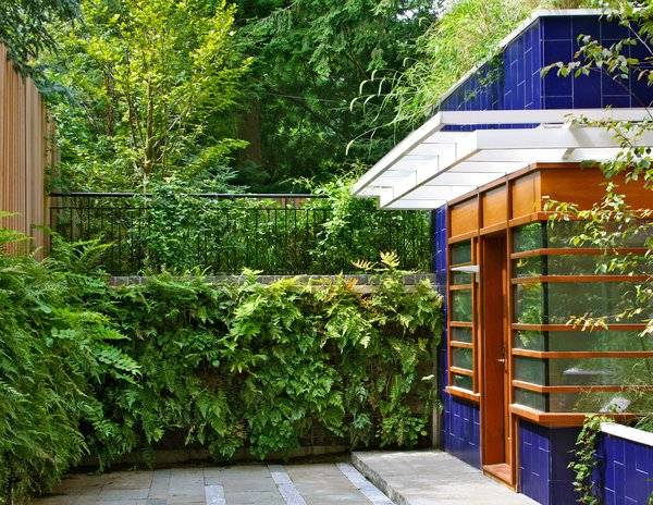 The green wall and entrance, with its blue ceramic tile facing and planters. Photo 2 of Sustainable Urban Villa modern home