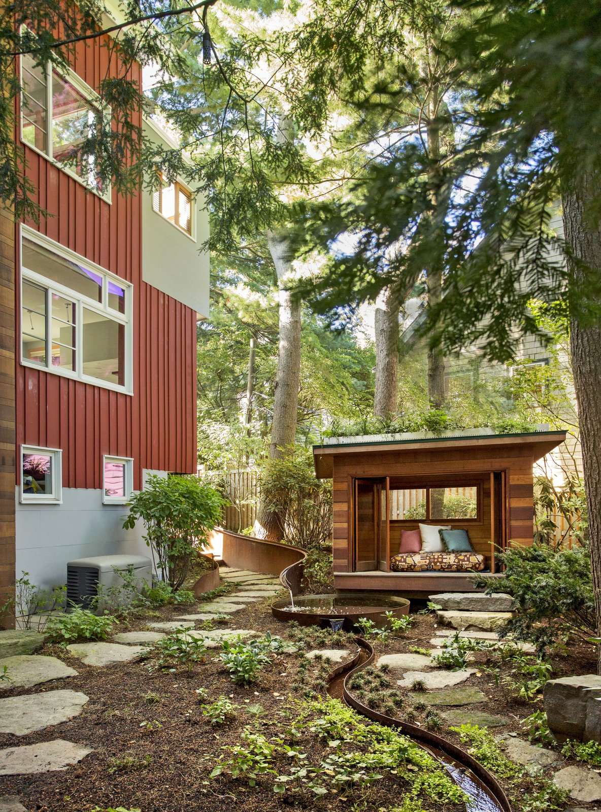 The meditation hut set in the garden designed by Julie Moir Messervy Design Studio (JMMDS).