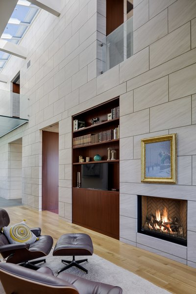 fireplace wall in home office/library Photo 3 of Boston Suburbs modern home