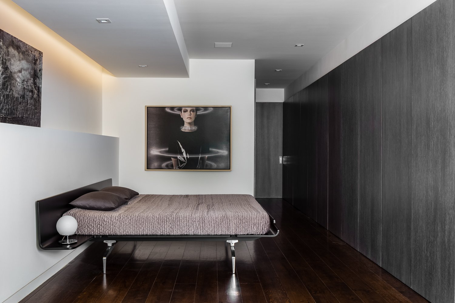 Master Suite + Hall - bed: Alias, Rift-cut white oak, full-height, honeycomb panels and doors: hand wire brushed, stained, sealed, sanded, glazed, sanded and top-coated