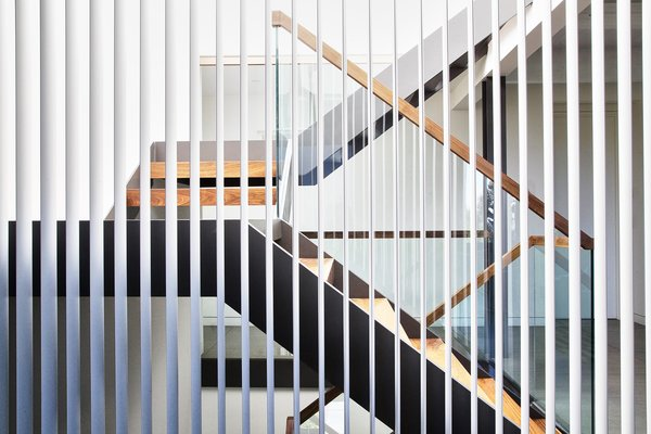 Walnut and Steel stair connecting all floors Operable Louvered Panel - LouvreTec Photo 7 of Lyon Residence modern home